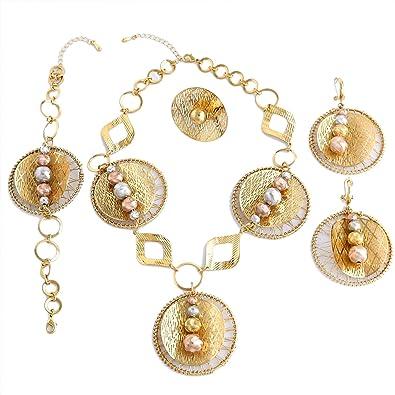 b149c4ada53 Yulaili Collier plaqué Or pour Femme Big parures Africain Fantaisie Collier  Mode Bracelet 24 K Accessoire