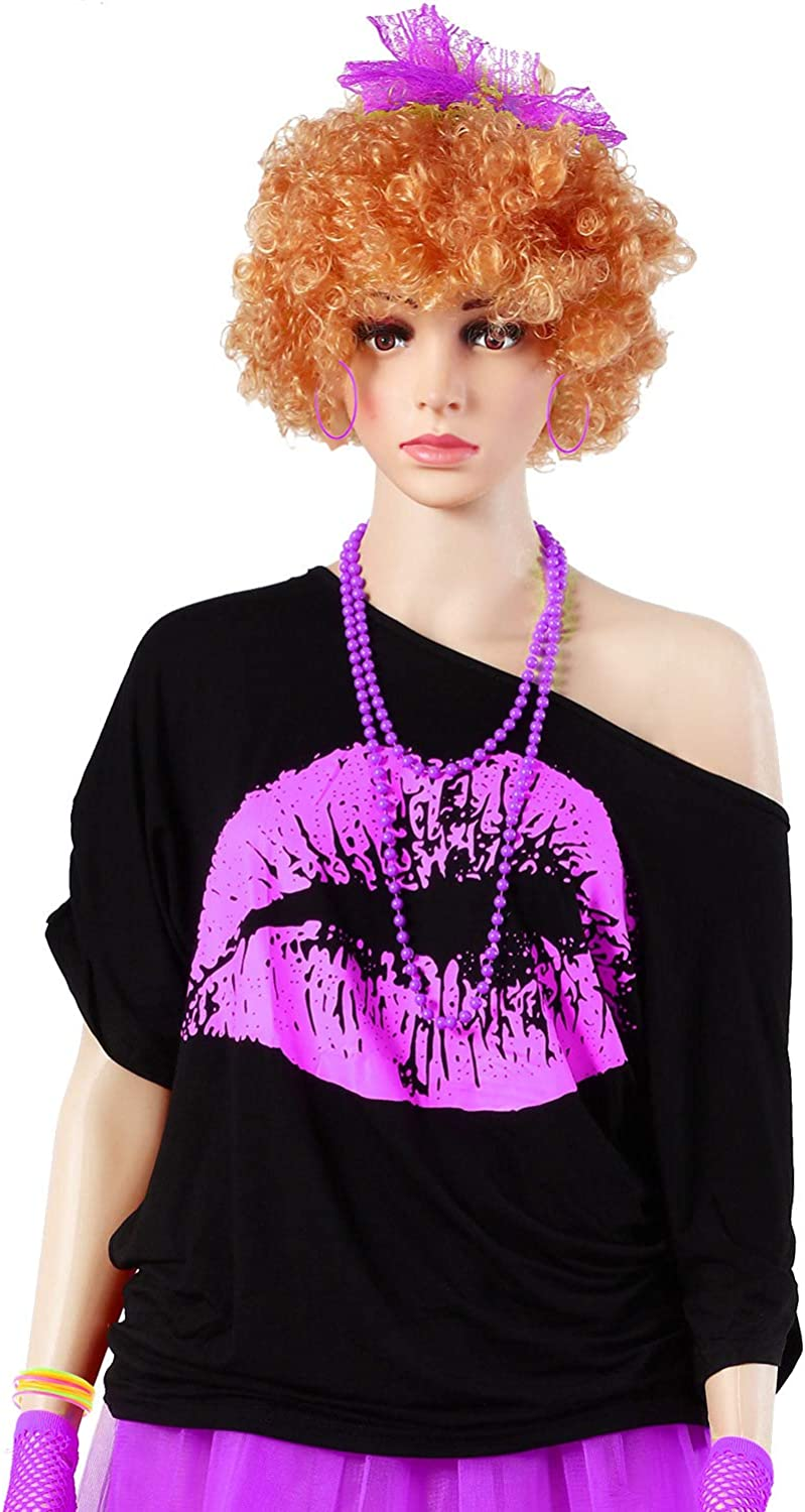 Lips Print T-Shirt Lace Headband Earrings Necklace Bracelet for 80s Theme Party Womens 80s Costume Accessories Set