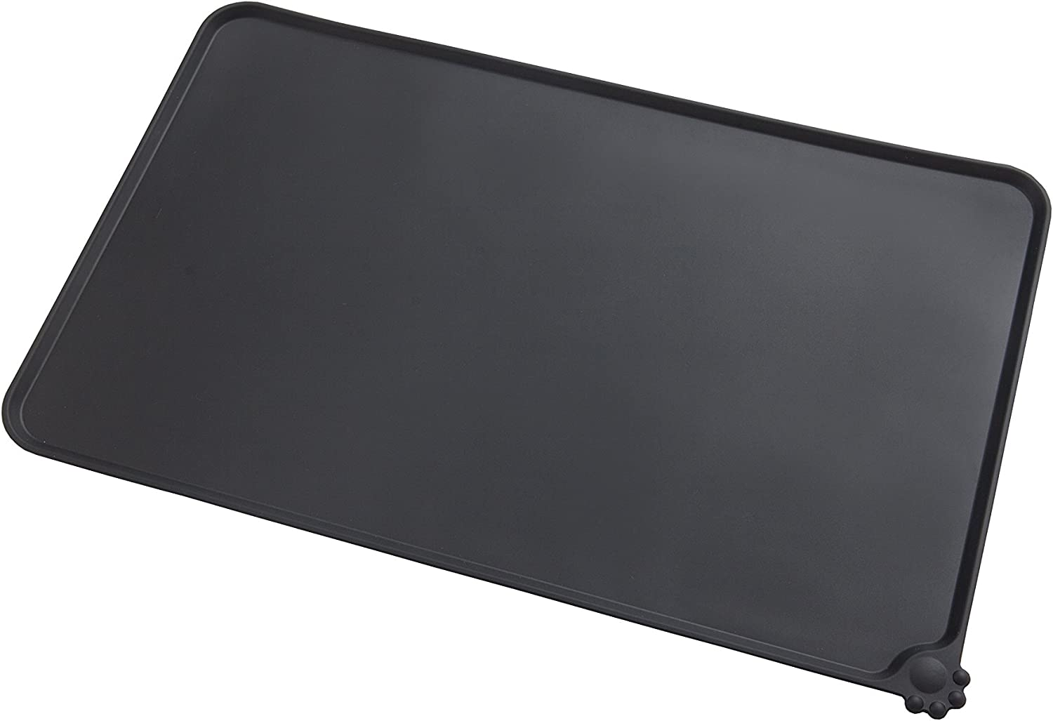 Gefryco Pet Food Silicone Bowl Mat Feeding Tray for Cats and Dogs (Black)