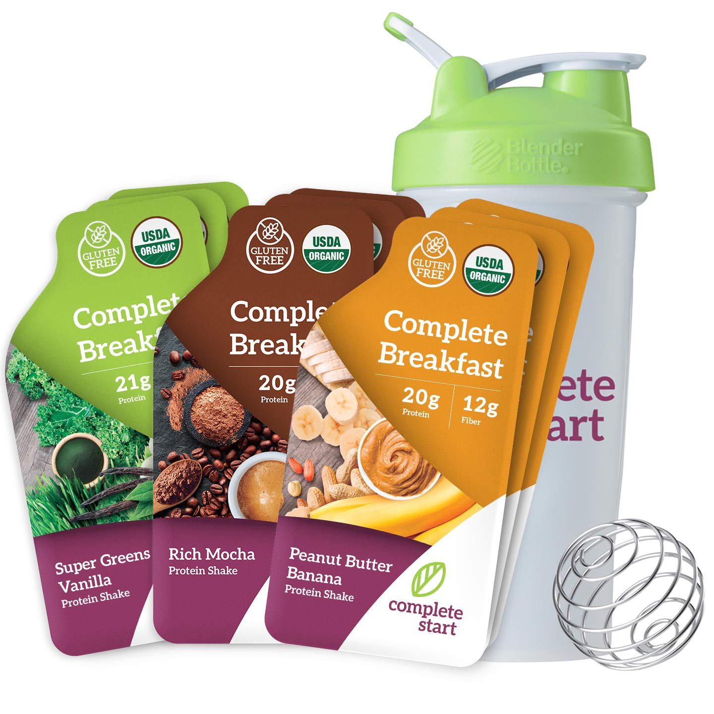 Complete Start Meal Replacement Shake   Gluten Free Weight Loss, Breakfast Nutritional Supplement   USDA Organic, Dairy Free, Non-GMO, Vegan, Plant-Based Whole Foods   Bonus Shaker Bottle by Complete Start
