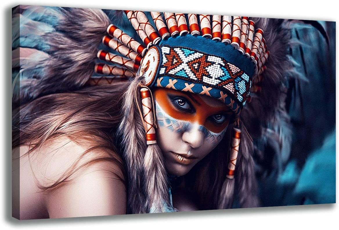 HD Printed Native American Warrior Oil Paintings Indians Portrait Home Wall Decor Art On Canvas Framed Stretched Ready to Hang Posters and Prints