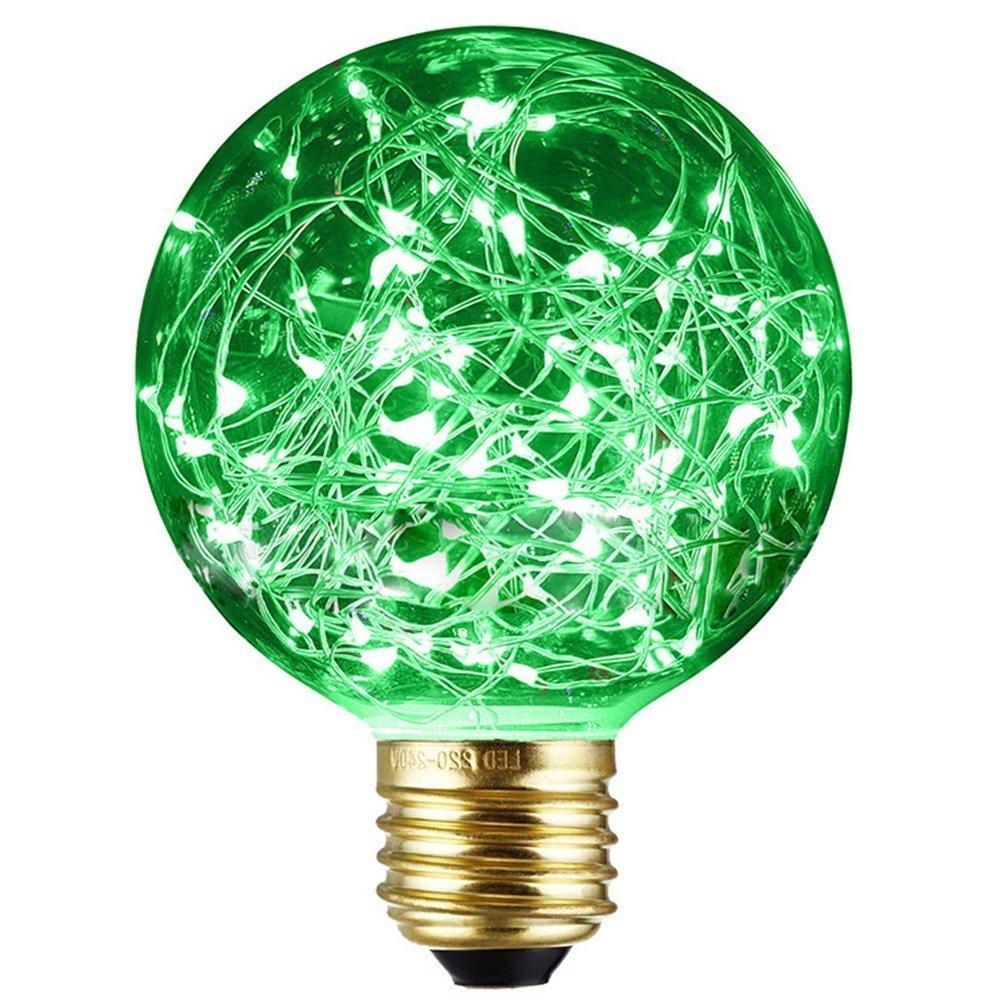 Mofek Decorative Light Bulbs 1.6W Edison LED Filament Retro Firework Industrial Copper Wire Lights E27 Energy-Saving Vintage Buld for Indoor Xmas Holiday Pendant Light Decoration (Green) [Energy Class A+]