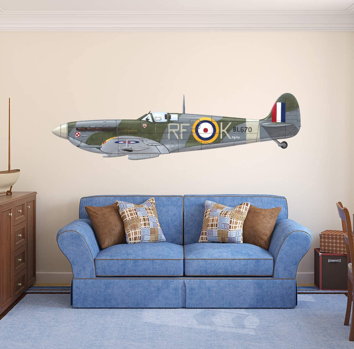 WWII Aircraft Wall Decal Military Airplane Wall Art Graphic Kids Room Home Bedroom Wall Decor Removable Vinyl Wall Stickers ND63 (90
