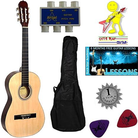 Stretton Payne guitarra acústica para niños con cuerdas de nailon ...