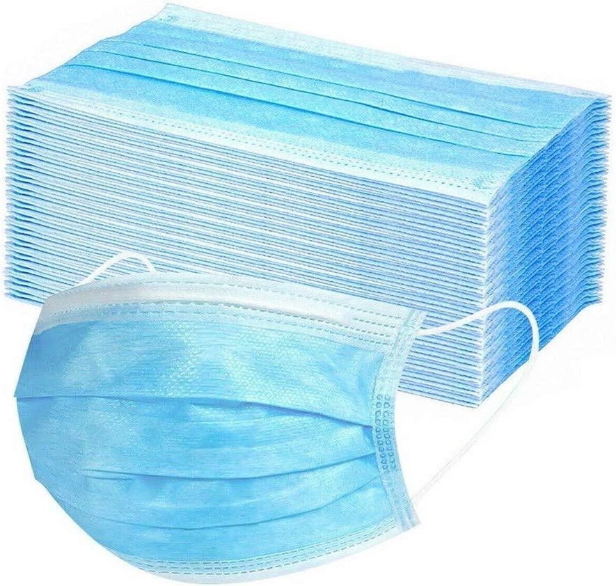 50PCS Blue Disposable Face Masks for Party,School,Office,Dustproof Breathable Lightweight Adult Mask with Elastic Ear lLoop