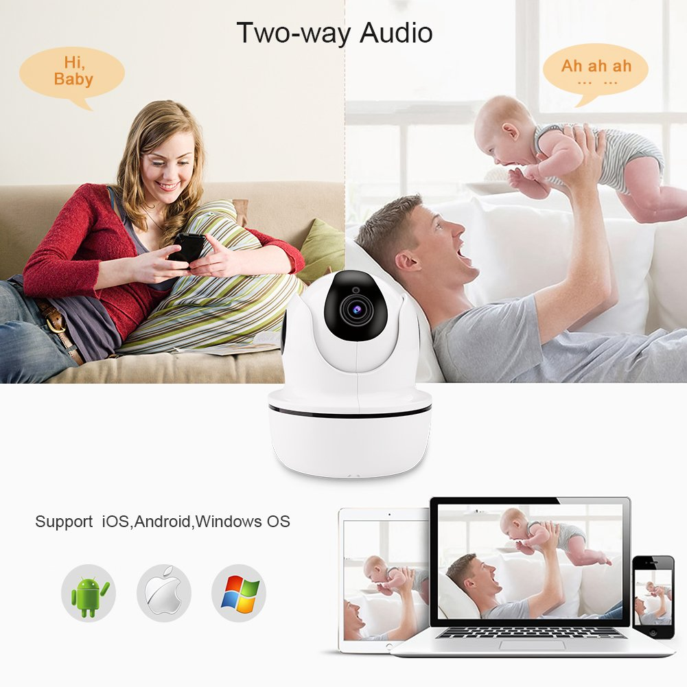 1080P HD Security Camera,Sea Wit Wireless IP Camera with Pan/Tilt/Zoom, Two Way Audio,Control Appliances,107°Viewing Angle,Night Vision,Home Surveillance Camera,Baby Pet Nanny Camera Puppy Cam –White by Sea Wit (Image #4)