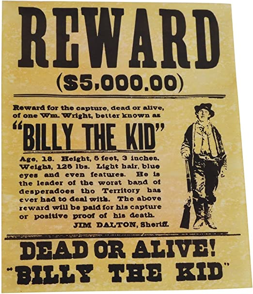 Amazon Com Wanted Poster For Billy The Kid Prints Posters Prints