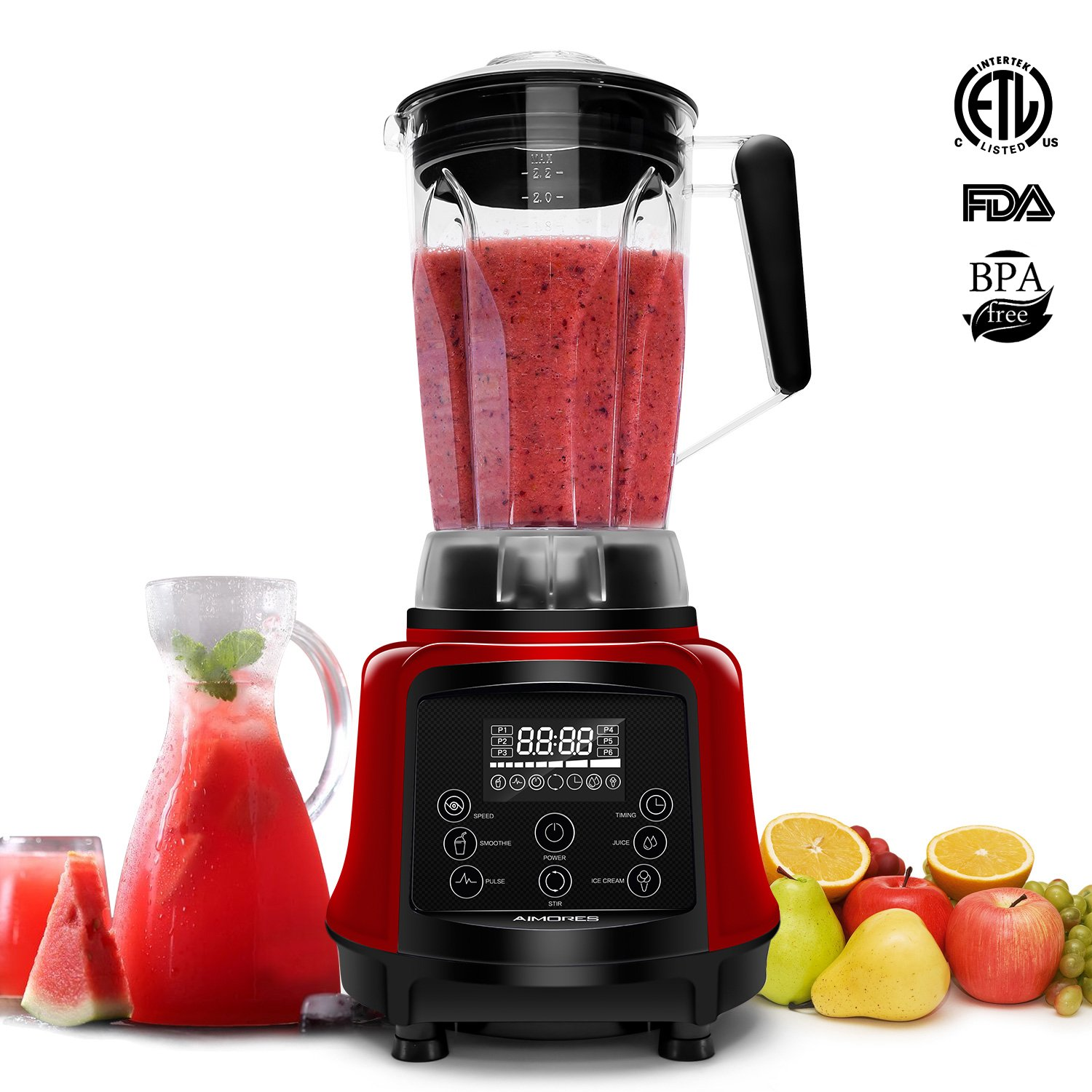 Professional Smoothie Blender | AIMORES 3-in-1 75oz. High Speed Programmed Juicer Ice Cream Maker | Auto Clean, 6 Blades, w/ Recipe & Tamper | ETL & FDA Certified (Red) by ISUN