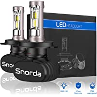 Snorda H4 LED Headlight Bulbs, 50W 6500K 8000Lumens Extremely Brigh