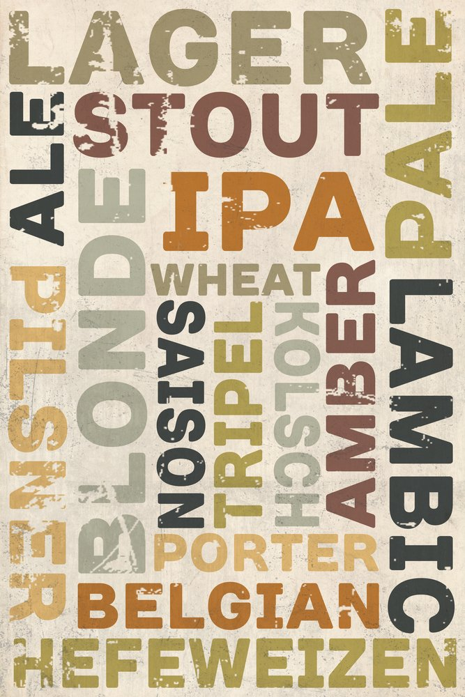 Beer Typography - Types of Beer (24x36 Giclee Gallery Print, Wall Decor Travel Poster)