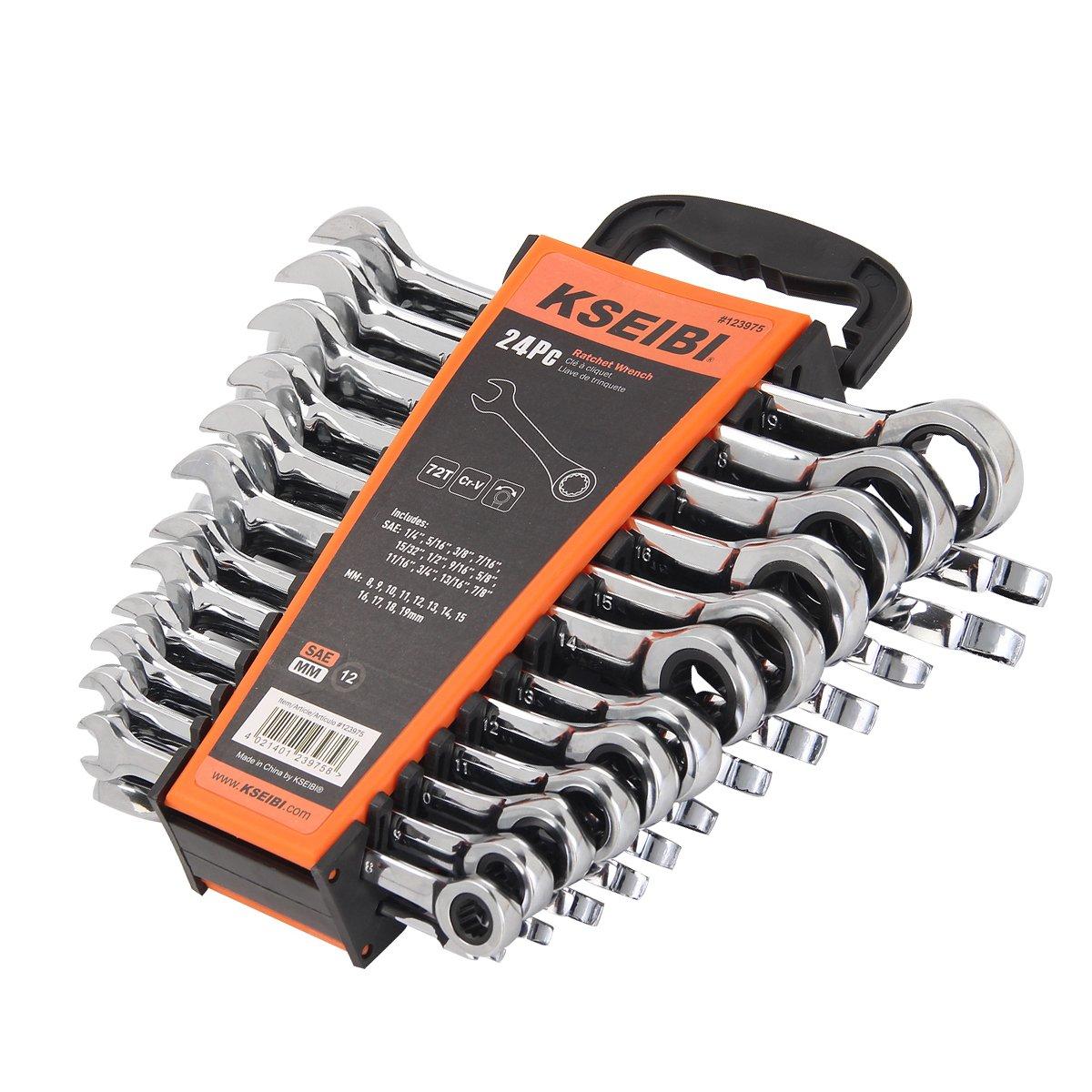 Chrome Vanadium Steel Ratchet Wrenches Kit with Storage Keeper SAE /& Metric KSEIBI 123975 24 Piece Ratcheting Combination Wrench Set