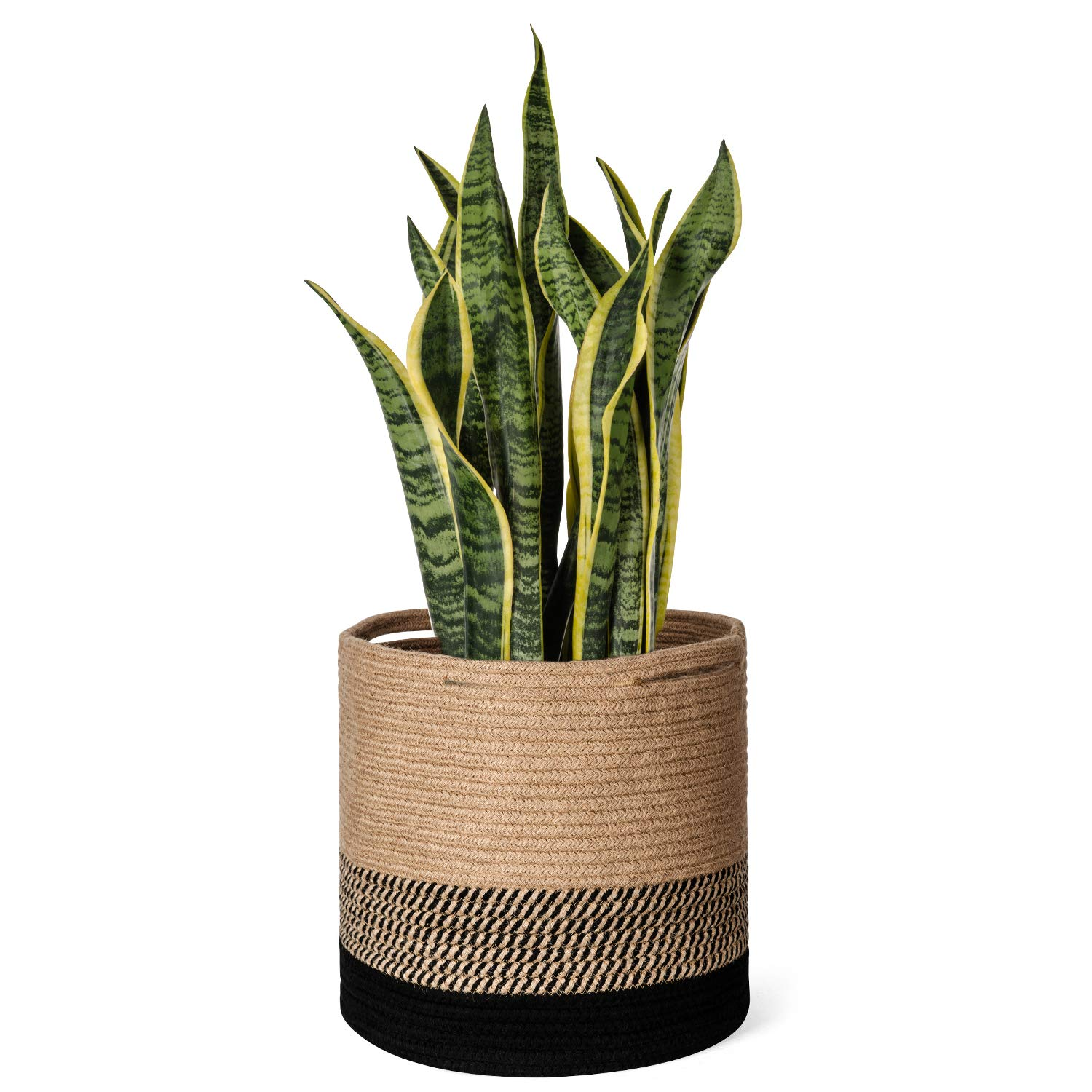 Dahey Jute Rope Plant Basket Modern Woven Storage Basket for Up to 11 Flower Pot, 12 x 12 Decorative Floor Indoor Planter Cover Laundry Storage Bin with Handles Rustic Home Decor, Black and Beige