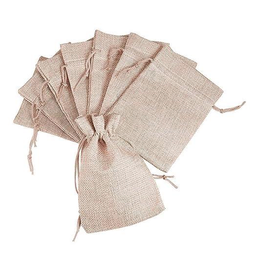 Pandahall – Set de 100 bolsas de lino y cáñamo con cordón, color rosa pálido, 18 x 13 cm