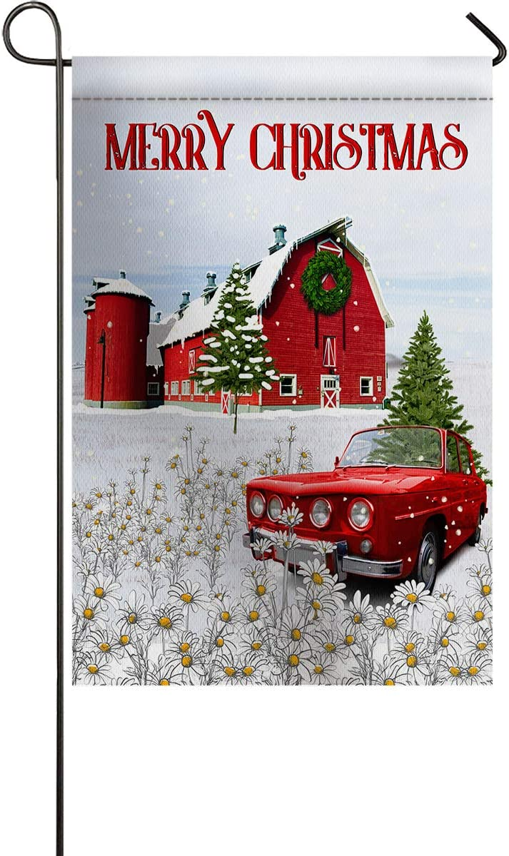 PartyShow Garden Flags, Red Truck wiyh Daisy Trees Vertical Double Sided Seasonal Yard/Lawn/Outdoor/Garden Flag Barns with Christmas Wreath 28 x 40 inch