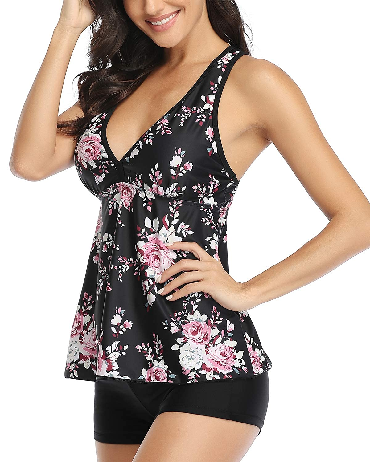 Tempt Me Women 2 Piece Racerback Printed Top with Boyshorts Tankini Bathing Suit