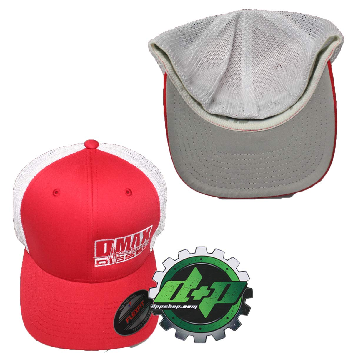 a542d4ece Amazon.com : OSFM DMAX Diesel Flexfit Fitted Flex fit Trucker Ball Cap hat  Chevy Duramax red : Sports & Outdoors