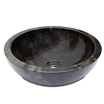 Fahome Lavabo Env 45cm éviers Rond Marbre Noir Amazonfr Cuisine