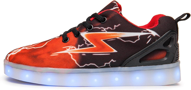 WAWEN Unisex Kids USB Charging Led Sneakers Lightning Meteor Light Up Flashing Shoes