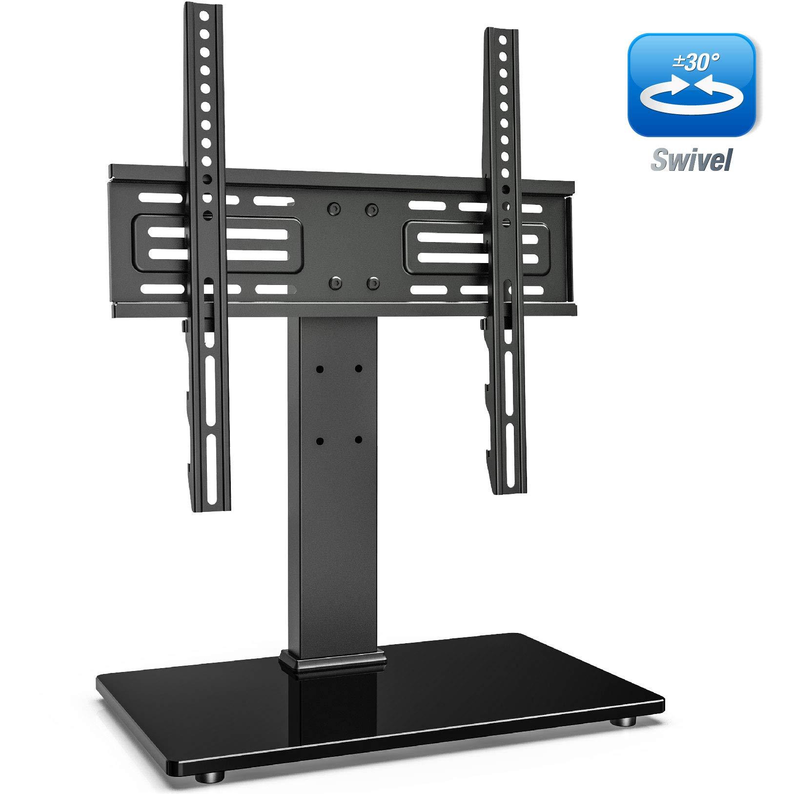 FITUEYES Universal Swivel TV Stand for 27-55 inch LCD LED TVs Height Adjustable TV Base with Tempered Glass Security Wire VESA 400x400mm TT103702GB by FITUEYES