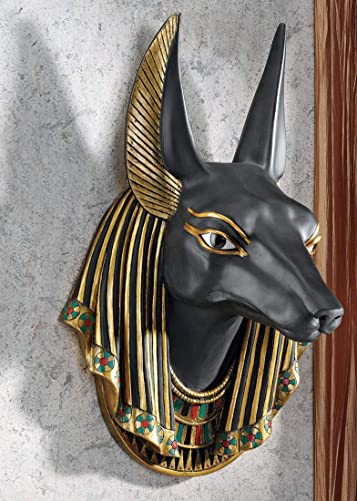 Ebros Gift Colorful Egyptian Classical Deity Jackal Headed Anubis God Of Afterlife And Mummification Bust Wall Decor Plaque Figurine 15.5″H Hanging Sculpture Gods And Goddesses Of Egypt