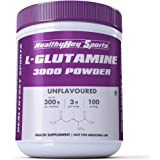 HealthyHey Sports Glutamine Powder, Muscle Growth and Recovery - 300g - 100 Servings (Unflavoured, 300g)