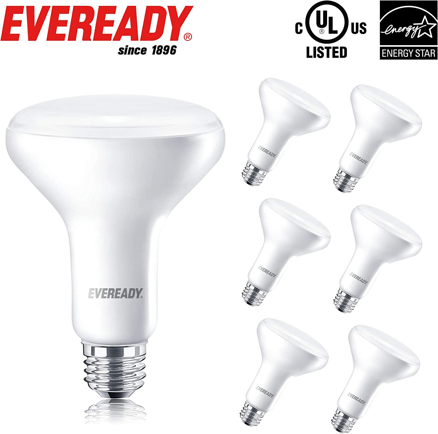 EVEREADY Led Flood Light Bulbs, BR30, 65 Watts Equivalent (10W Led Bulb), 850 Lumen, 2700K Soft White Color, Dimmable, E26 Base Flood Lights for Recessed Cans, Energy Star and UL Certified – 6 Pack
