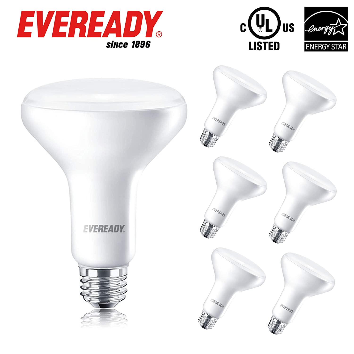 850 Lumens Energy Star Certified UL Listed 24 Pack Eveready BR30 LED Dimmable Light Bulbs 10W Flood Light 65W Equivalent E26 Base 2700K Soft White Color 25,000 Hours Lighting Lifespan