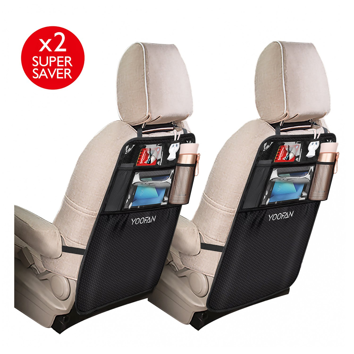2 Pack Kick Mats Car Back Seat Protector , Organizer Pockets, Waterproof Seat Back Cover with iPad / Tablet Holder by YOOFAN