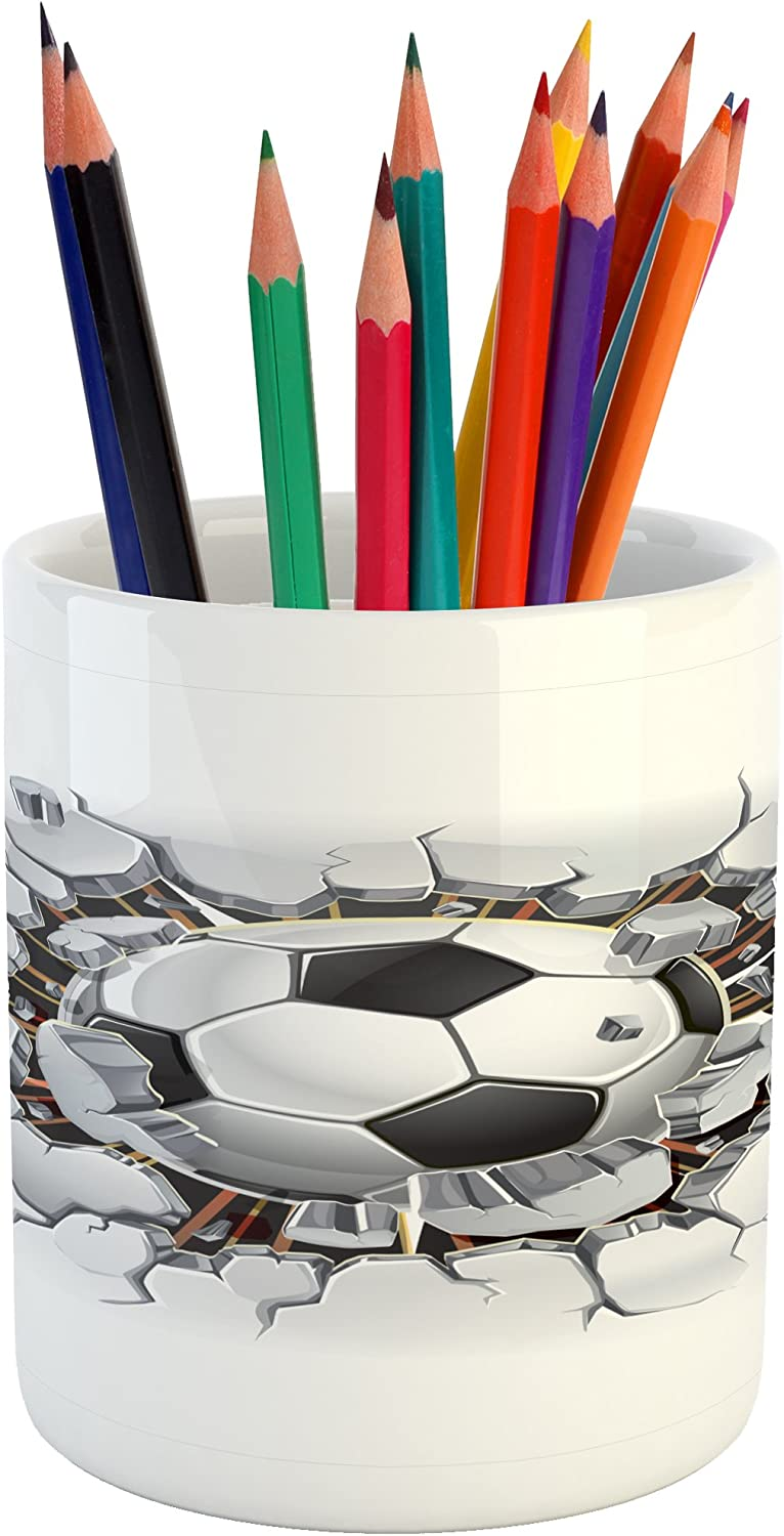 "Lunarable Sports Pencil Pen Holder, Soccer Ball and Old Plaster Wall Damage Destruction Punching Illustration, Ceramic Pencil Holder for Desk Office Accessory, 3.6"" X 3.2"", Black and White"