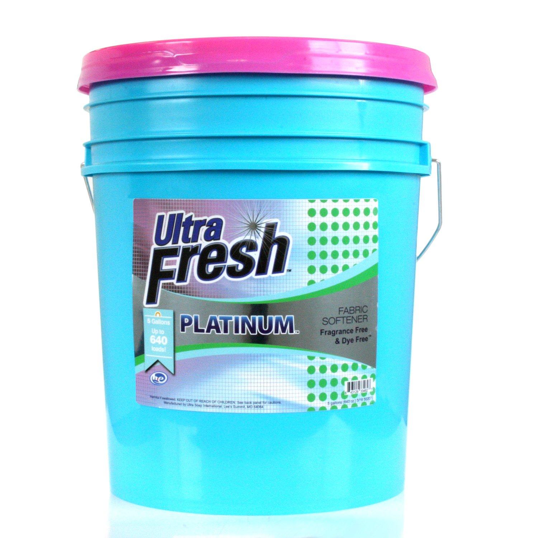 Ultra Fresh UFPFNCFS Platinum Fragrance Free and Dye Free Fabric Softener, 5 gal, 640 oz.