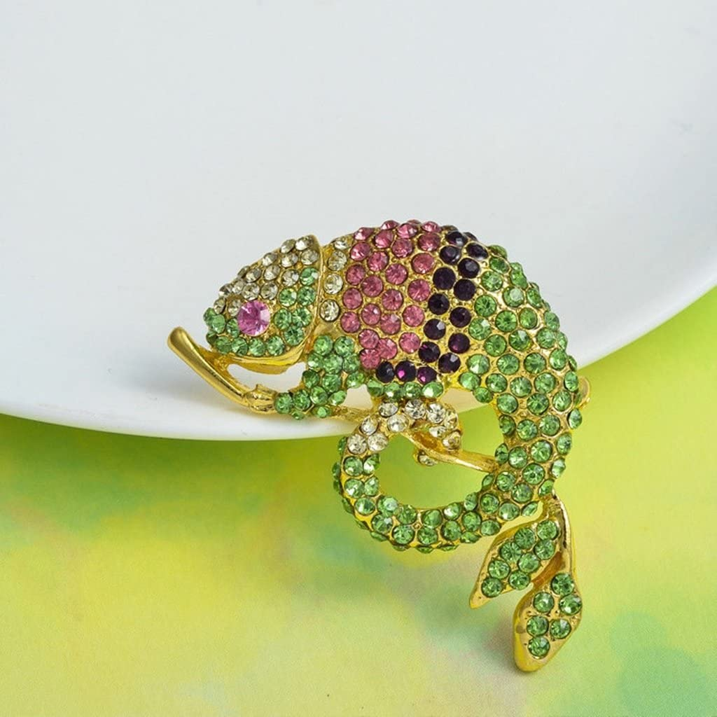 Epinki Women Brooch Stainless Steel Animal Chameleon Brooches and Pins Wedding Brooch Colorful