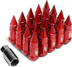 J2 Engineering LN-T7-022-15-RD 7075 Aluminum Red M12X1.5 20Pcs L: 80mm Spiky Cap Lug Nut w/Adapter