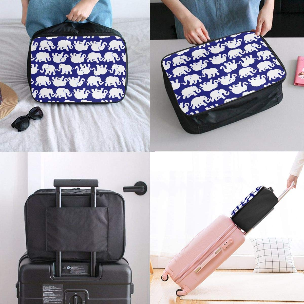 Navy Tusk In Sun Elephant Large Capacity Portable Weekend Bag Overnight Tote Bag Luggage Duffel Bag for Women Girls
