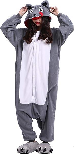 Pijama Animados Kigurumi Cosplay Gran Lobo Animal para Adulto Unisex