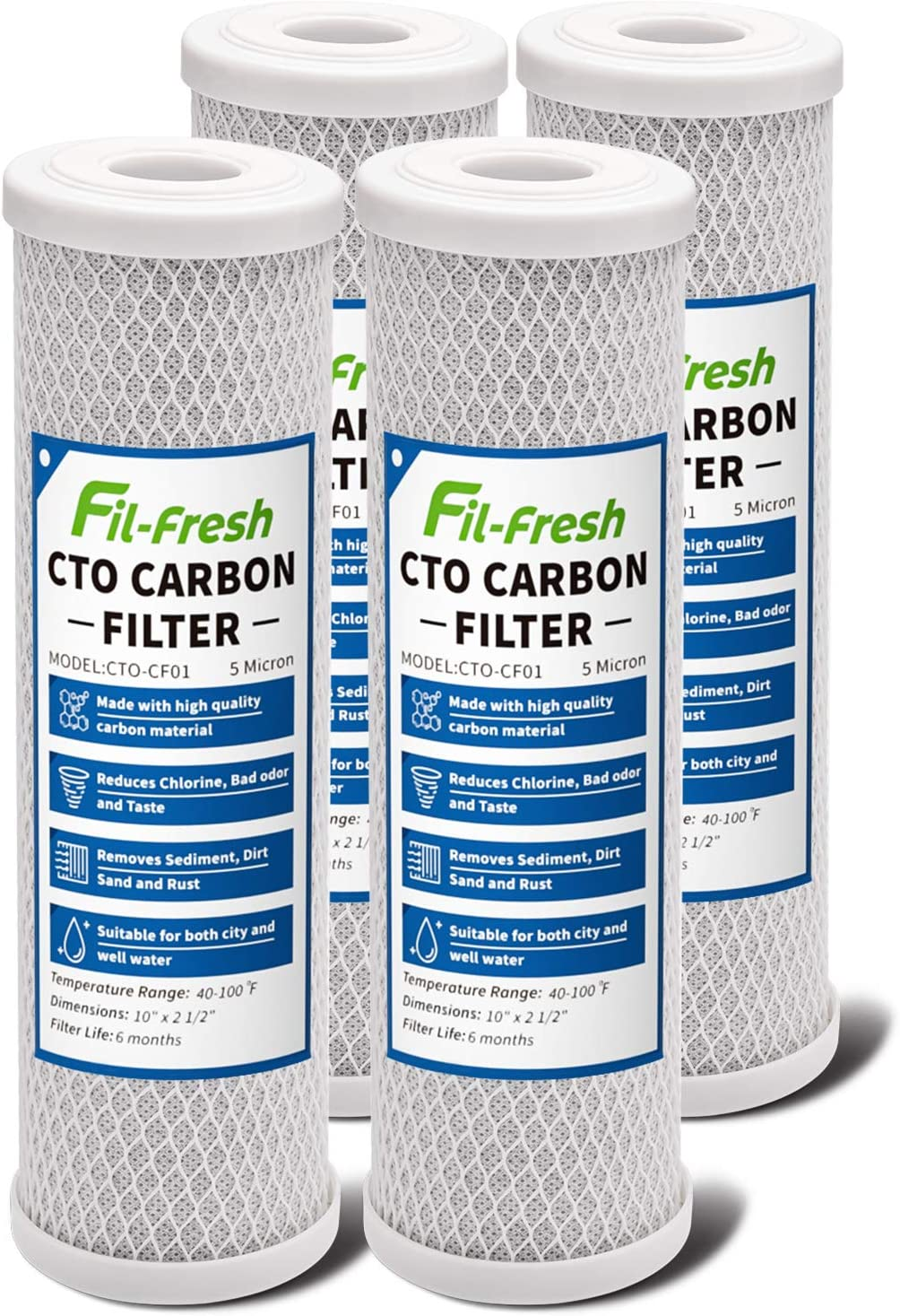"""Fil-fresh 5 Micron 10"""" x 2.5"""" Whole House CTO Activated Carbon Block Water Filter Replacement Cartridge Fits Standard Under Sink and RO Water Filtration System(4 Pack)"""
