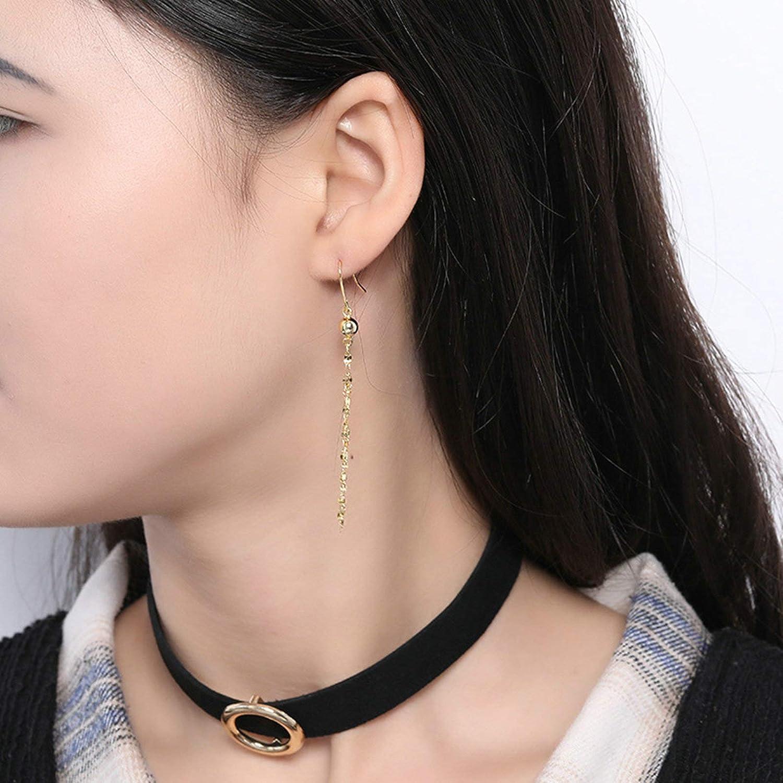 Adisaer Jewelry WomenS Studs Earrings Sterling Silver Gold Long Tassel Length 7CM Anniversary Giftsearrings