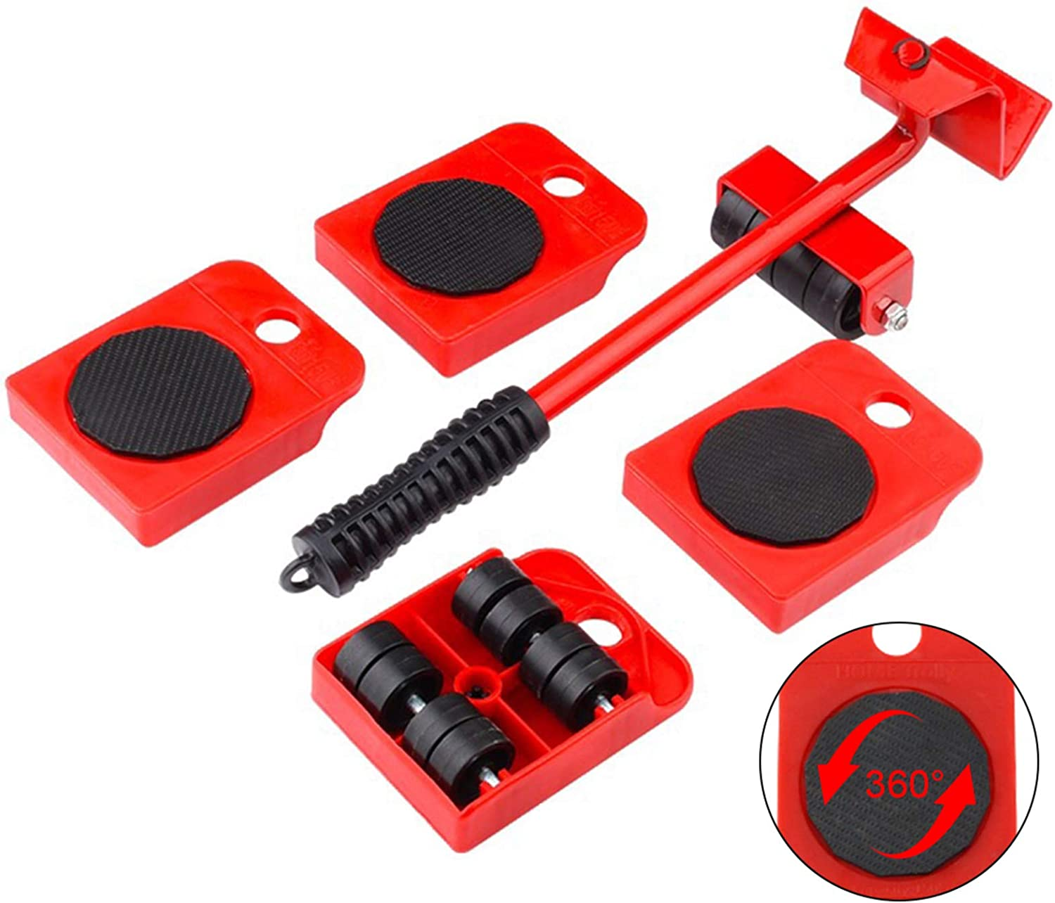 Heavy Duty Furniture Slide Kit - GEMITTO Furniture Lifter with 4 Pcs 360 Degree Rotatable Sliders for Heavy Furniture Easily Redesign and Rearrange