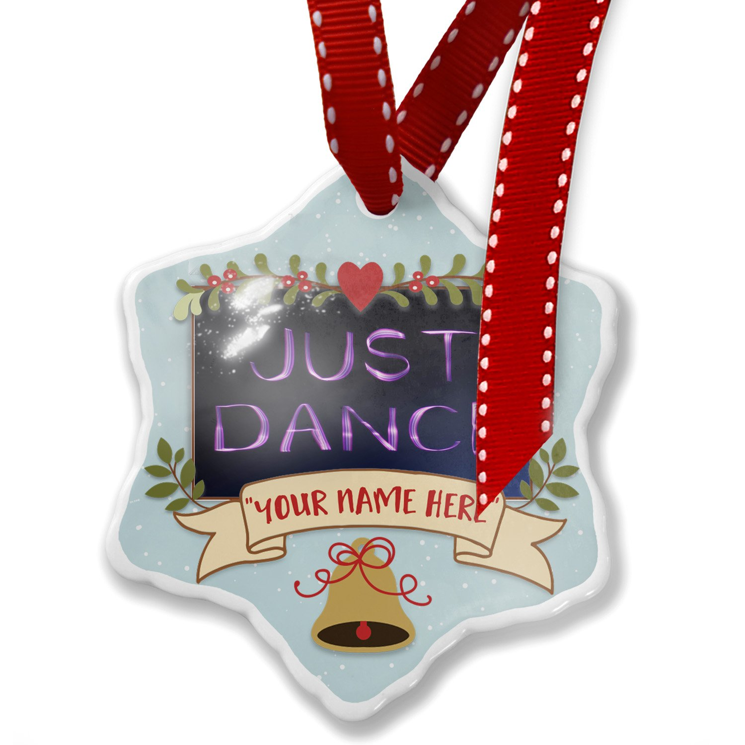 Add Your Own Custom Name, Just Dance Purple Lights at night Christmas Ornament NEONBLOND
