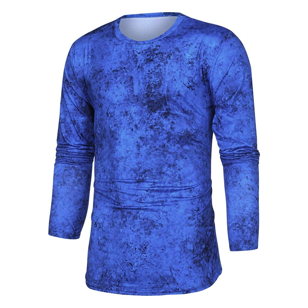 Men Gradient Color O-Neck Tops Fashion Splicing Long Sleeve Shirts Ribbed Slim Blouse for Mens