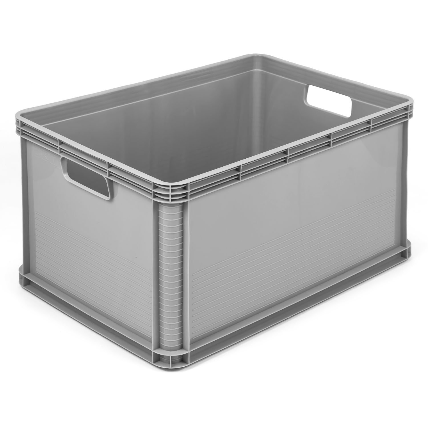 3 x 64 Litre Robusto Industrial Plastic Stacking Euro Storage Containers Boxes Crates GREY