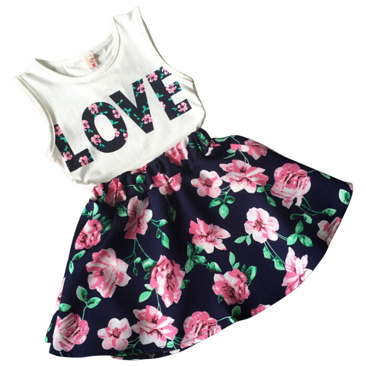 bd982ef3943 Jastore Girls Letter Love Flower Clothing Sets Top+Short Skirt Kids Clothes