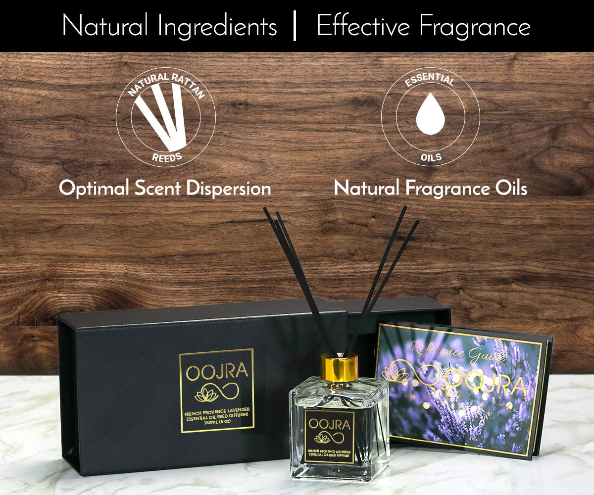 OOJRA French Provence Lavender Essential Oil Reed Diffuser Gift Set, Glass Bottle, Reed Sticks, Natural Scented Long Lasting Fragrance Oil (3+ Months 5 oz) for Aromatherapy and Air Freshener by OOJRA (Image #3)