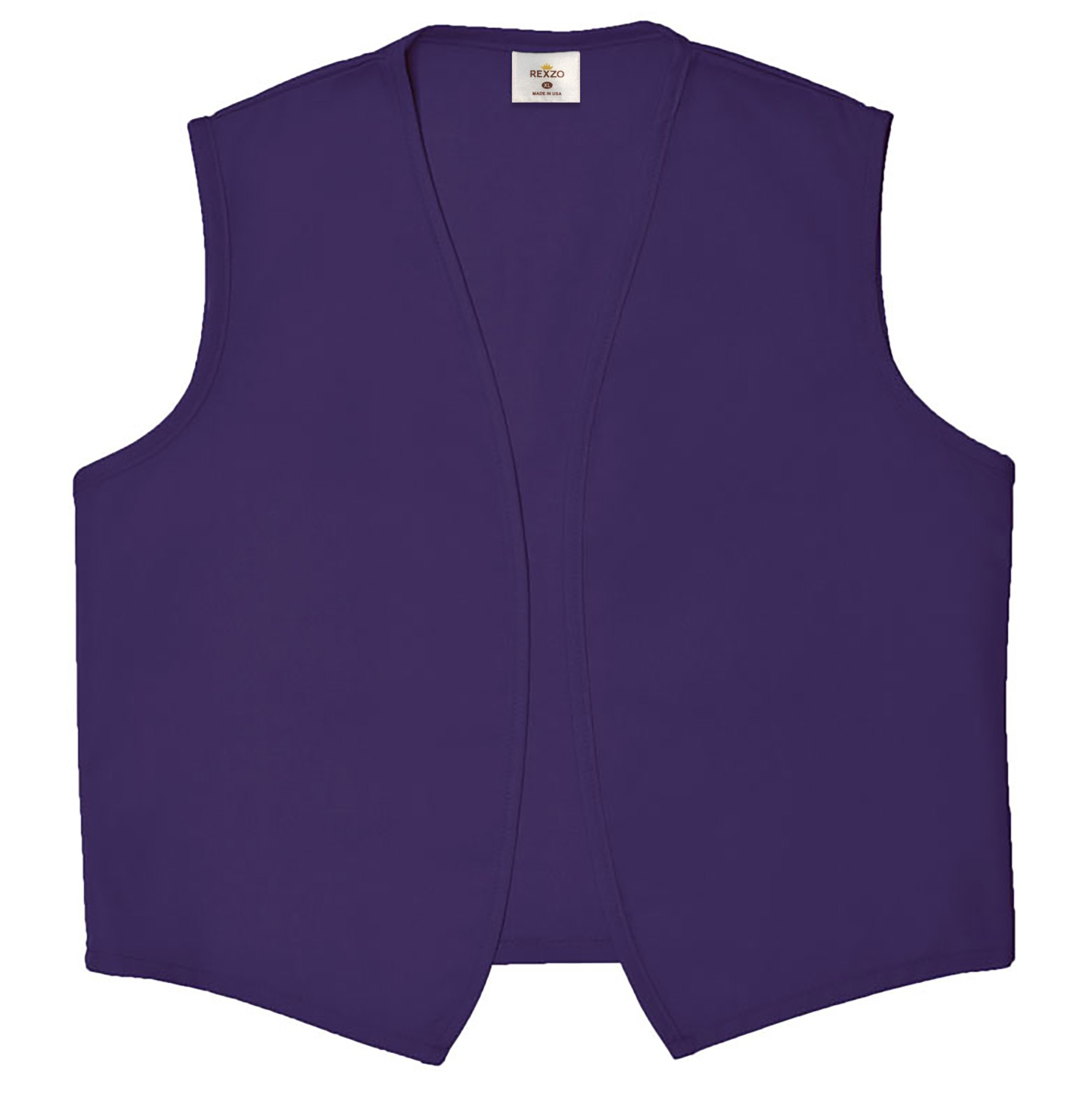 REXZO Unisex Vest No Pocket No Buttons– Made in The USA - Purple, Large