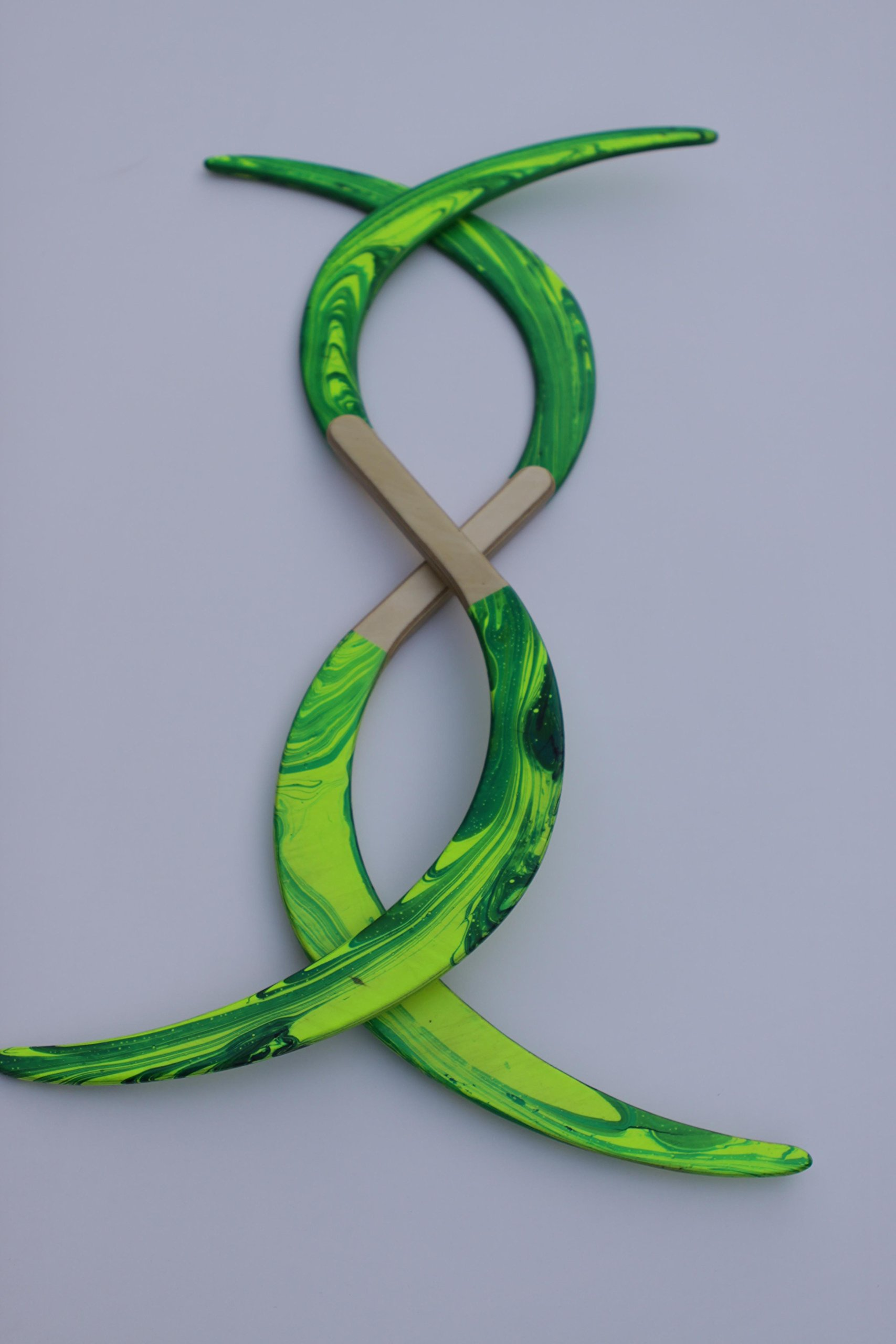 Swirl Buugeng Juggling S Staff S Staves Bugeng Hand Made 2 Pieces Yellow and Green Glows in UV Carry Bag by Buugeng Flow Master J.A.H (Image #2)