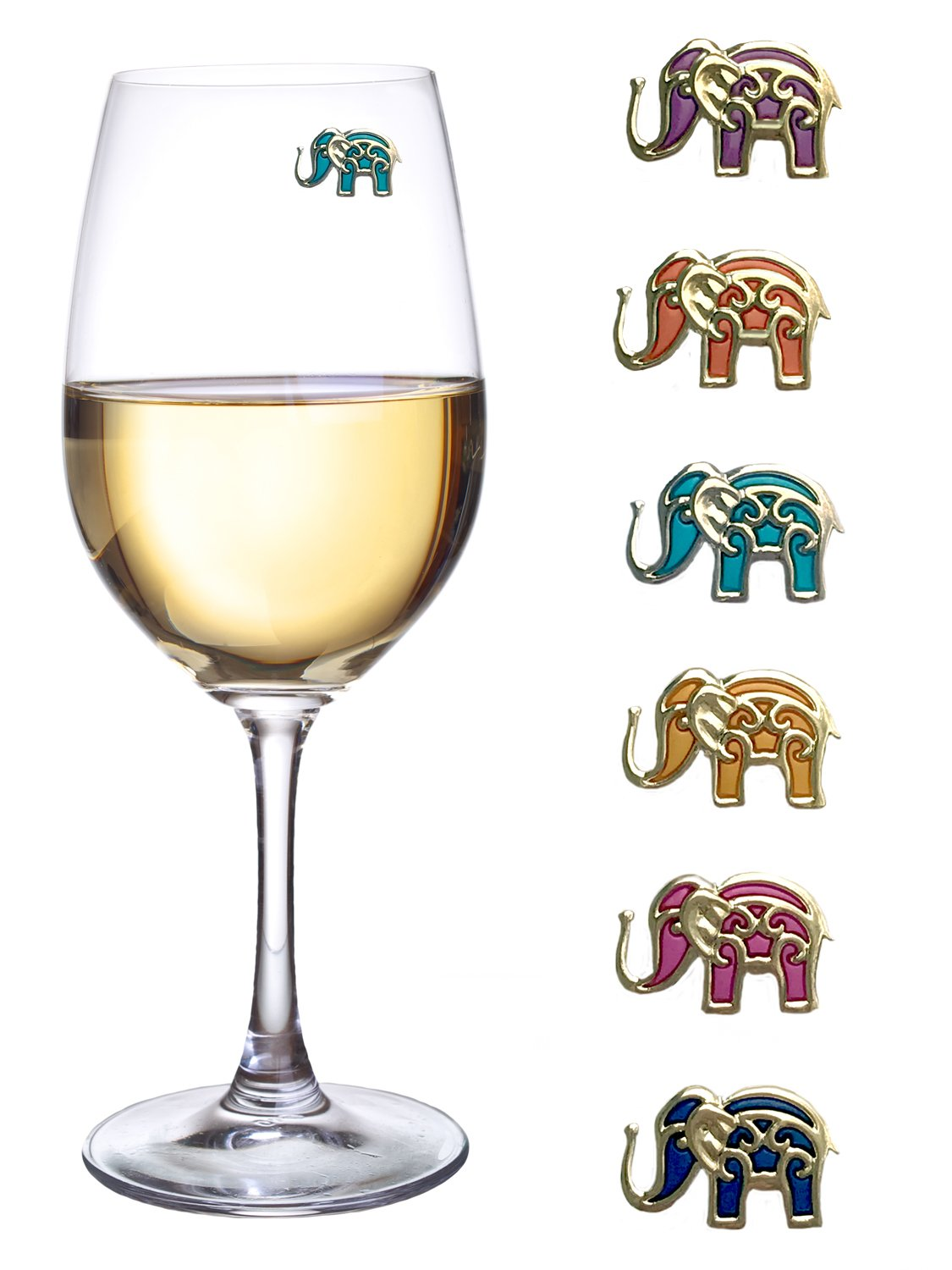 Wine Charms for Glasses Magnetic Elephant Drink Markers Set of 6 Perfect for Stemless Glasses by Simply Charmed