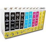 10 x Cartuchos de Tinta para Impresora, compatibles con Epson Stylus SX110, SX115, SX100, SX105 (entre otros).