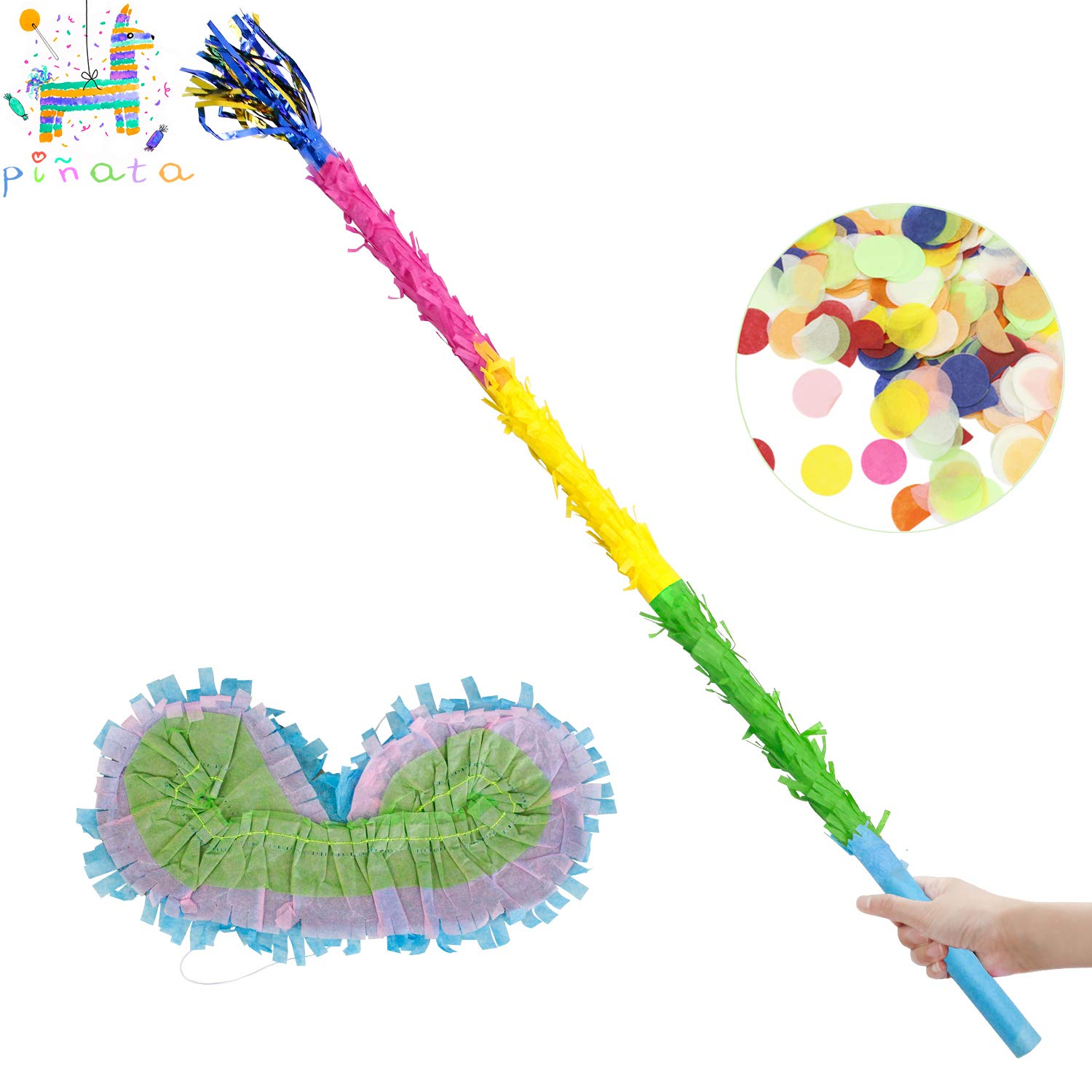 30.6'' Pinata Stick with Blindfold Confetti Set for Pinata Kids Birthday Anniversary Celebration Decorations Gaming Theme Pet Party Fiesta Supply by kaimei