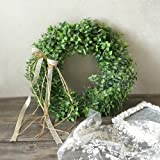 Adeeing 15 Inches Artificial Green Leaf Wreath with Bow Door Hanging Wall Window Decoration Holiday Festival Wedding Decor, Style A