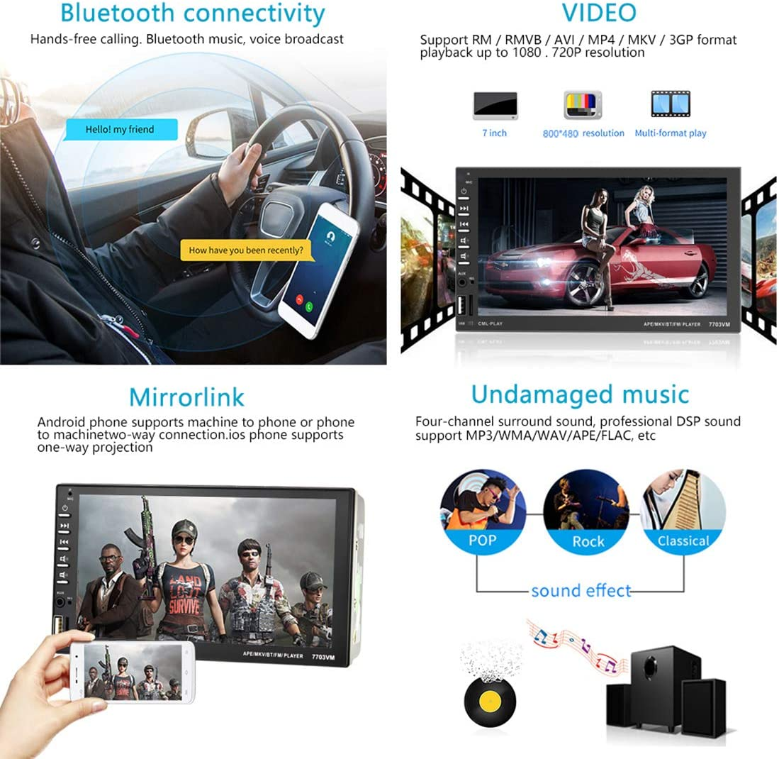UNITOPSCI Car Stereo Car Radio Double Din 7 Inch Touch Screen with Bluetooth in Dash Head Unit Car MP5 Player FM Radio Video Support Backup Rear View Camera Mirror Link DVR//AUX-in//USB Remote Control