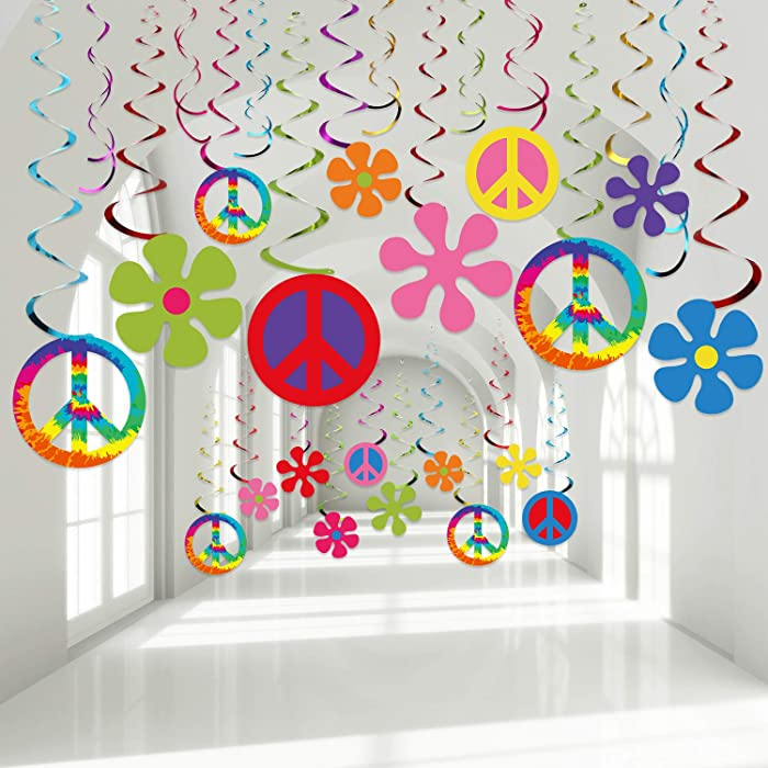 60's Hippie Theme Party Foil Swirl Decorations, 60s Groovy Party Retro Flower Cutouts Peace Sign Hanging Swirls Ceiling Decorations for 60s Hippie Theme Groovy Party Woodstock Party Supplies, 30 Count